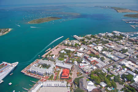 aerial view over northern key west including mallory square and cruise liner