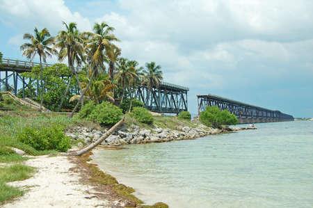 view of the Flagler Railway and Bridge at Bahia Honda State Park, Florida Keys