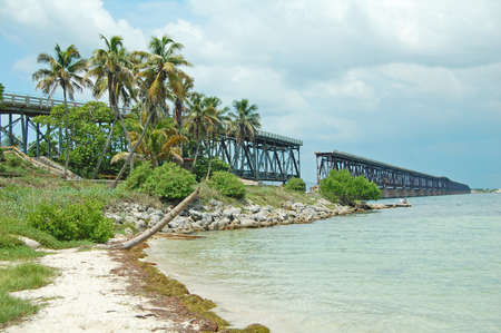 railway history: view of the Flagler Railway and Bridge at Bahia Honda State Park, Florida Keys