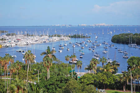 florida landscape: overlooking biscayne bay to key biscayne, miami