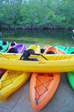 colourful kayaks for rental in florida keys  Stock Photo