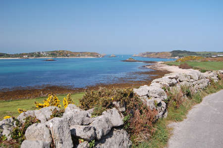 scilly: view of bryher island from tresco, isles of scilly