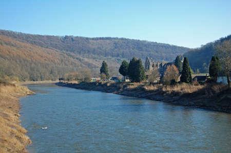 tintern abbey on the river wye  Stock Photo