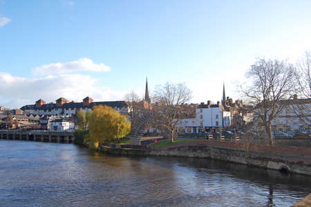 view of Shrewsbury in England across the river Severn Stock Photo - 13703956