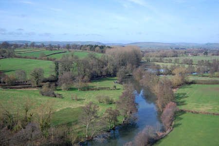 view of river teme in shropshire, england
