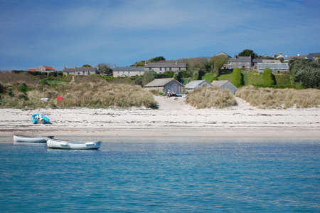 cornish: view of beach and houses on St Martin