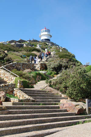 steps leading to the lighthouse at cape point, south africa Stock Photo