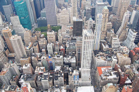 aerial view of buildings in Manhattan, New York, from the top of the Empire State building Stock Photo
