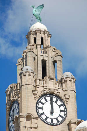 Close up of one tower of the Royal Liver Building in Liverpool, UK