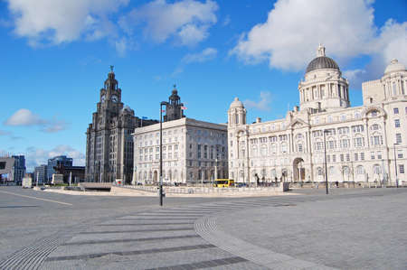 liverpool: view of the Three Graces, buildings on Liverpool
