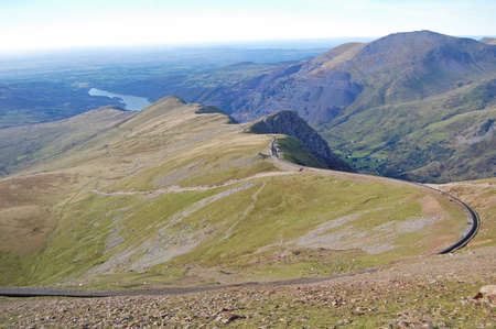 railway line up to summit of Snowdon, Wales