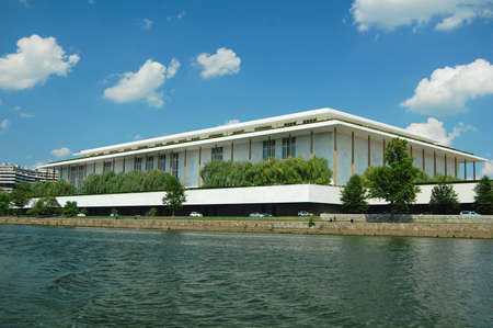 john: the John F Kennedy Center for the performing arts in Washington DC, seen from the potomac river