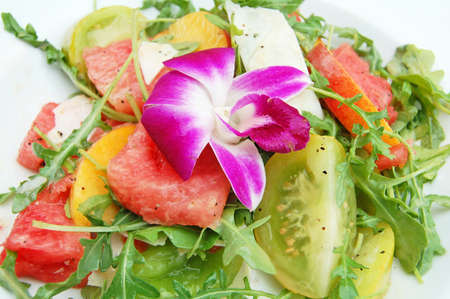 appetiser: watermelon and tomato salad appetiser Stock Photo