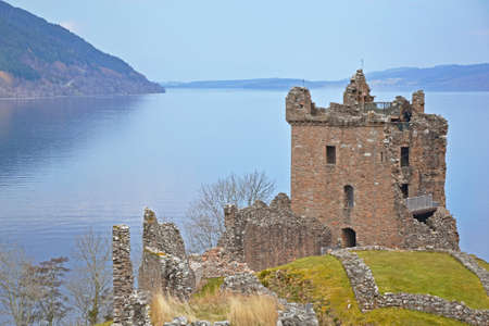 view of Loch Ness and Urquhart Castle, Scotland Stock Photo