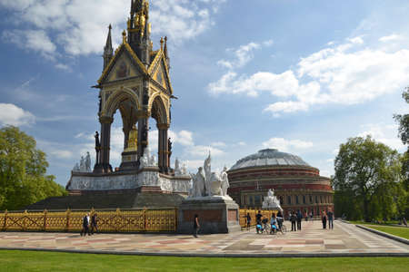 LONDON - MAY 4  the Albert Hall   Albert Memorial in London, UK on May 4, 2014  Both structures are iconic landmarks in London