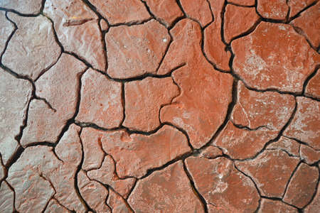 caked: caked dry mud in drought conditions  Stock Photo