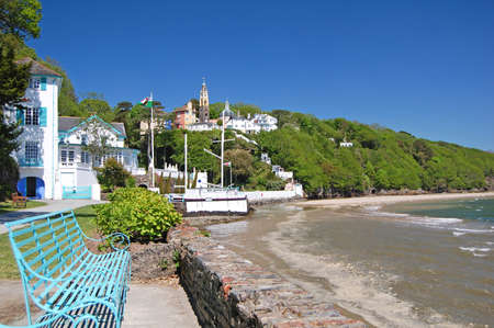 coastline along Portmeirion village in Wales, UK