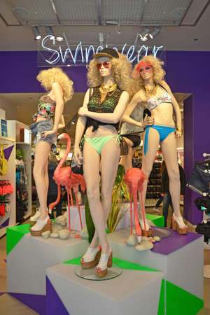 LONDON - MAY 4  mannequins in the H M flagship store at Oxford Circus, London on May 4, 2014