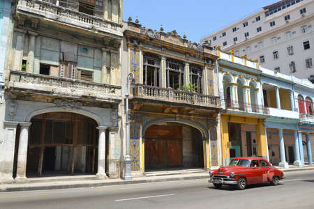 classic car in central Havana street in Cuba