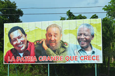 CUBA - JULY 23  billboard depicting three political leaders of Venezuela, Cuba and South Africa located in Cuba on July 23, 2014  Propaganda billboards are common throughout Cuba since the Revolution