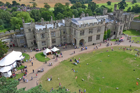 Warwick - August 7  view over Warwick Castle in England on August 7, 2014  The castle is medieval and has origins to William the Conqueror in 1068