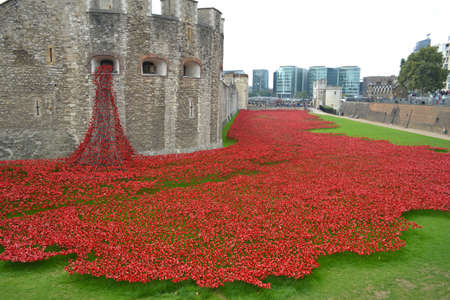 surrounding: London, UK - September 14: ceramic poppies in the moat surrounding the Tower of London, London, UK on September 14, 2014. The poppies are a memorial to those who died in World War I. Editorial