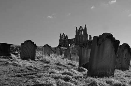 abbey: gravestones next to whitby abbey