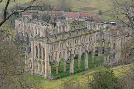 north yorkshire: view of Rievaulx Abbey in Yorkshire, England Stock Photo