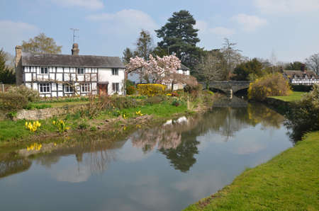scenic view of the village of Eardisland and the River Arrow in Herefordshire, England Editorial