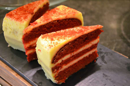 close up of red velvet cake slices Stock Photo