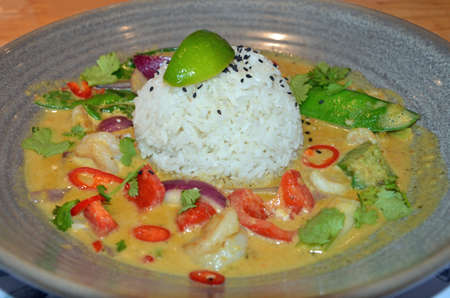 close up of prawn thai curry