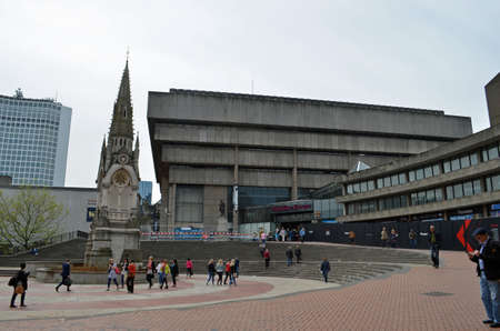 Birmingham UK  May 15: view of Chamberlain Square  the old central library in Birmingham UK on May 15 2015. Built in the Brutalist style the library will soon be demolished.