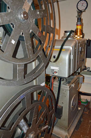silent film: a 35mm movie projector in a cinema