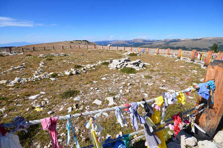 medicine wheel: Medicine Wheel in Wyoming - it is located at nearly 10,000 feet and is a sacred stone circle significant in Native American Indian culture. Stock Photo