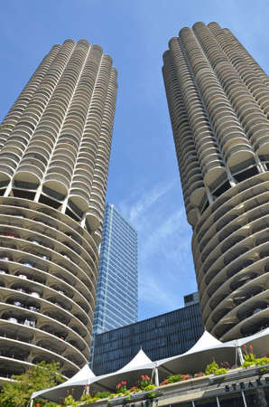 concrete structure: Chicago - August 13: the Marina City towers in Chicago, USA on August 13, 2015. Designed by Bertrand Goldberg, the residential complex was the tallest concrete structure in the world when completed in 1964.