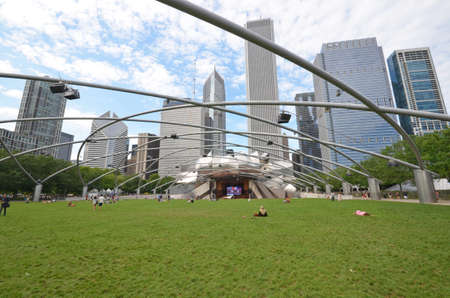 Chicago - August 13: The Jay Pritzker Pavilion and Great Lawn in Chicago, USA, on August 13, 2015. The Pavilion, designed by Frank Gehry, is an outdoor performing arts venue.