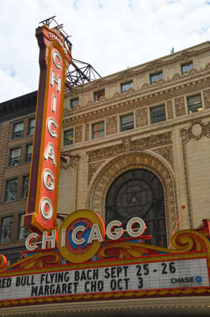 Chicago - August 13: the famous Chicago theatre sign in Chicago, USA on August 13, 2015. The historic sign has become an iconic symbol of the city.
