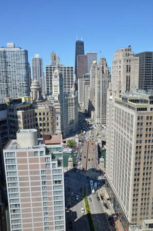 Chicago - August 12: aerial view of Michigan Avenue Bridge and the skyline in Chicago, USA, on August 12, 2015. The bridge links the Magnificent Mile with the southern Loop District.