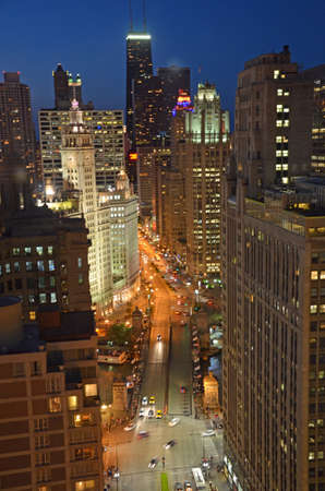 Chicago - August 12: aerial view of Michigan Avenue Bridge and the skyline in Chicago at night, USA, on August 12, 2015. The bridge links the Magnificent Mile with the southern Loop District.