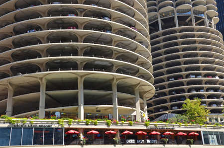 residential structure: Chicago - August 13: detail of the Marina City towers in Chicago, USA on August 13, 2015. Designed by Bertrand Goldberg, the residential complex was the tallest concrete structure in the world when completed in 1964.