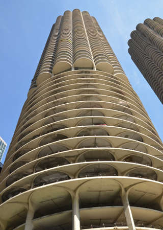 Chicago - August 13: detail of the Marina City tower in Chicago, USA on August 13, 2015. Designed by Bertrand Goldberg, the residential complex was the tallest concrete structure in the world when completed in 1964. Editorial