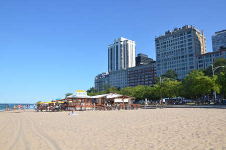 Chicago - August 12: view of Oak Street Beach Bar in Chicago, USA on August 12, 2015. It is one of a number of Chicago beaches along the shore of Lake Michigan. Editorial