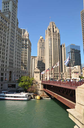 Chicago - August 12: view of Michigan Avenue Bridge and the Tribune Tower in Chicago, USA, on August 12, 2015. The bridge links the Magnificent Mile shopping area with the Loop District. Editorial
