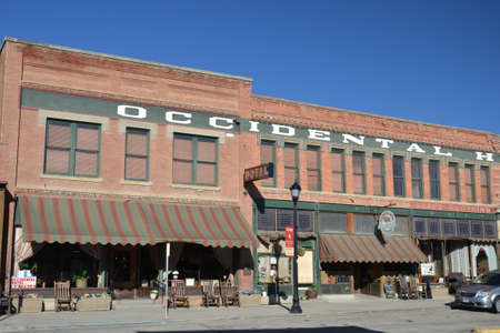 calamity: Buffalo, USA - August 19, 2015: Exterior of the Occidental Hotel in Buffalo, Wyoming, USA. Many famous guests have stayed at the historic hotel including Butch Cassidy, Calamity Jane and Ernest Hemingway.