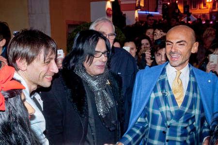 sanremo: Festival di Sanremo 2015. Enzo Miccio insieme ai sosia di Renato Zero  e Costantino