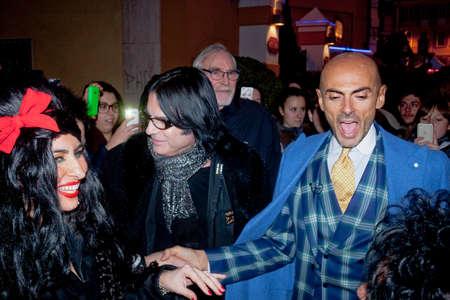 sanremo: Festival di Sanremo 2015. Enzo Miccio insieme ai sosia di Renato Zero e Emi winehouse