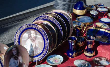 Blue ceramic plates