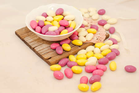 sugared: Sugared Almonds of many colors filled with cream