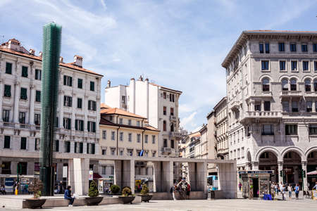 trieste: Important square in Trieste, Piazza Goldoni, in center of the city,Italy