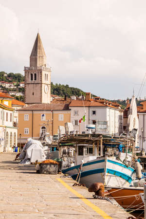 town idyll: Details of mols of Muggia with its boats and fishing boats, Trieste, Italy